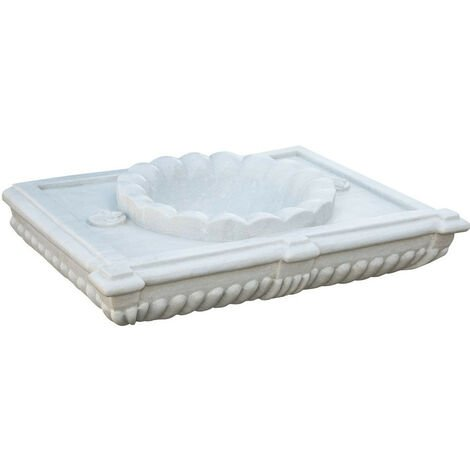 White scalloped marble sink L80XD18XH56 CM