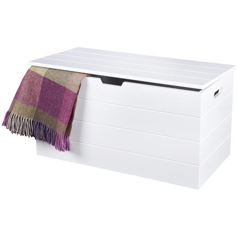 White Seaton Storage Chest with Soft Close Hinges // Scandinavian-inspired Ottoman for Bathroom, Bedroom, Hallway Storage