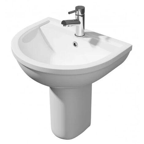 White Semi Basin Pedestal - 1 Tap Hole