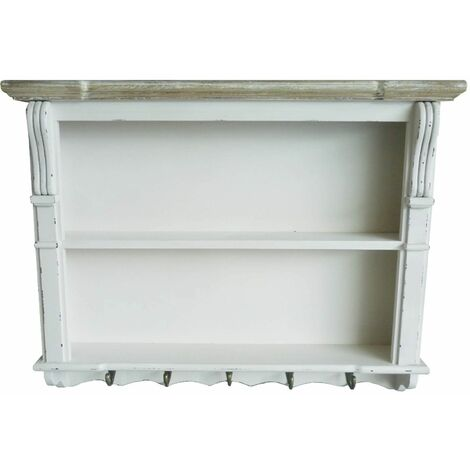 White Shabby Chic Kitchen Dining Room Wall Shelving Display Unit Dresser Top