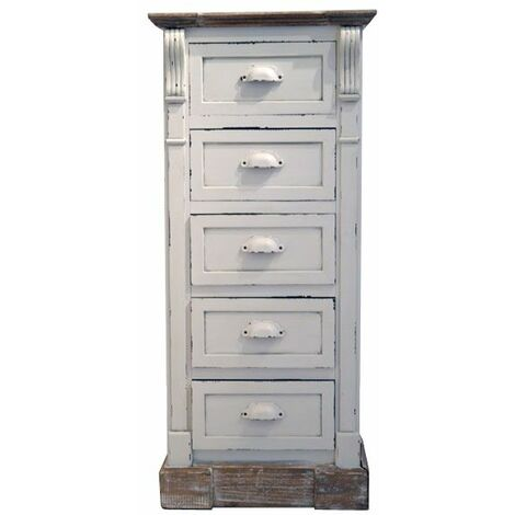 White Shabby Chic Vintage French Style Tall Chest 5 Drawers Bedroom Furniture - White