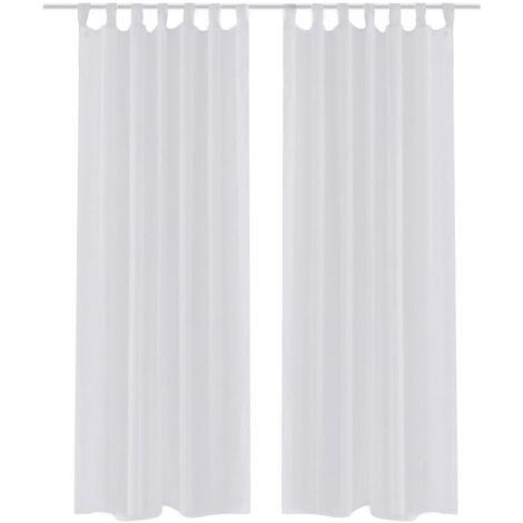 White Sheer Curtain 140 x 225 cm 2 pcs