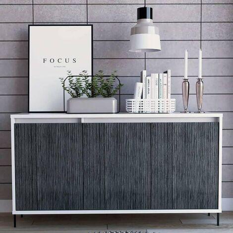 "main image of ""White Sideboard Cupboard Cabinet 3 Grey Oak Effect Doors and 2 Internal Shelves"""
