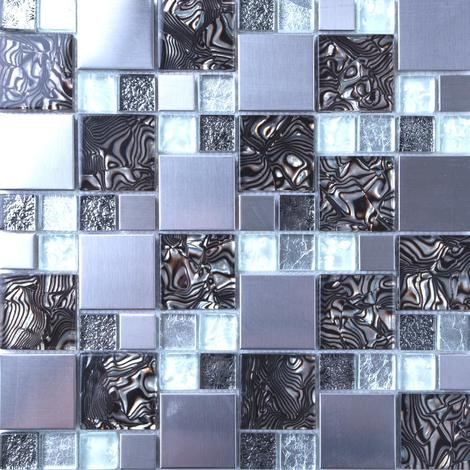 White & Silver Glass with Steel Bathroom Kitchen Mosaic Tile MT0164