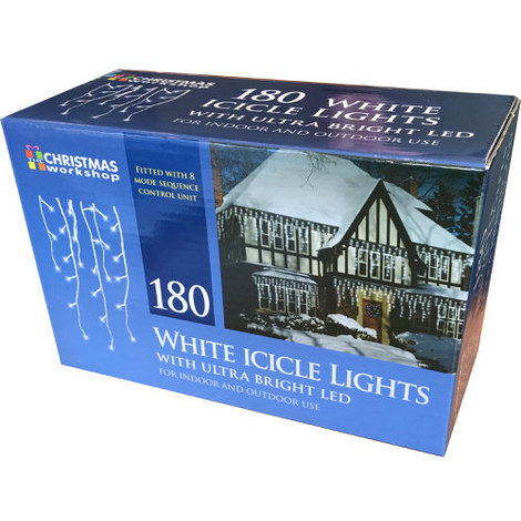 White Snowing Icicle Lights 3 with Ultra Bright LED 180 Bulb