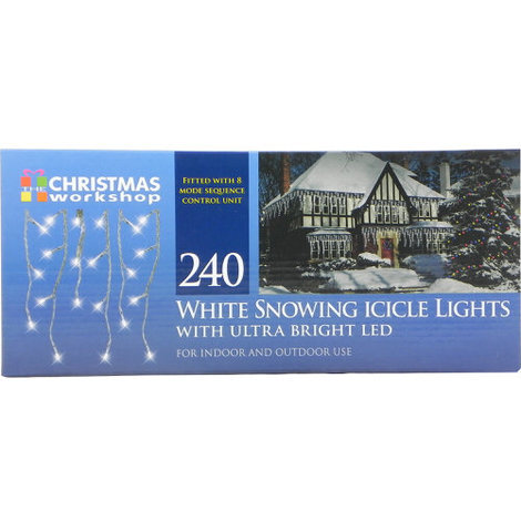 """main image of """"White Snowing Icicle Lights with Ultra Bright LED 240 Bulb"""""""