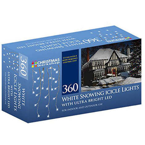 White Snowing Icicle Lights with Ultra Bright LED 360 Bulb
