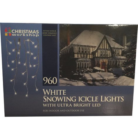 """main image of """"White Snowing Icicle Lights with Ultra Bright LED 960 Bulb"""""""