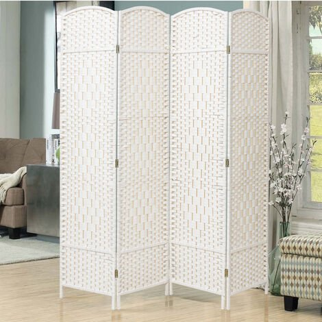 """main image of """"White Solid Weave Wicker Wood Room Divider"""""""