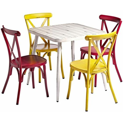 """main image of """"White Square Cafe Table And Chairs Set"""""""