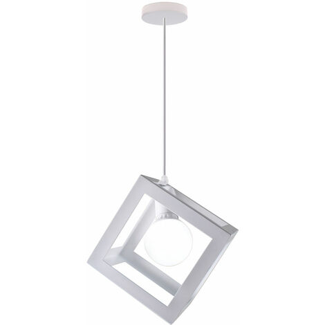 White Square Metal Ceiling Lamp Unique Geometric Cube Pendant Light E27 Modern Suspension Lighting Restaurant Drop light for Loft Cafe Bar