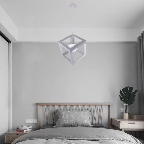 White Square Metal Ceiling Lamp Unique Geometric Cube Pendant Light E27 Modern Suspension Lighting Restaurant Droplight for Loft Cafe Bar
