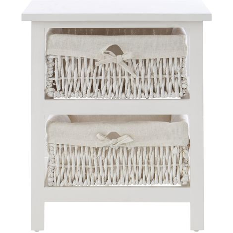 White Storage Unit, 2 Maize Baskets with Cotton Liners, Paulownia Wood