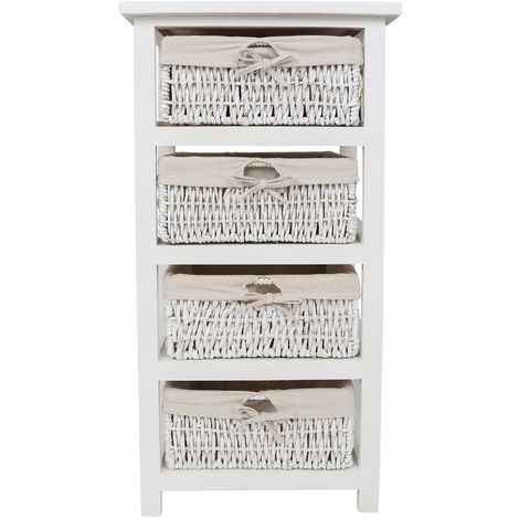 White Storage Unit,4 Maize Baskets with Cotton Liners,Paulownia Wood