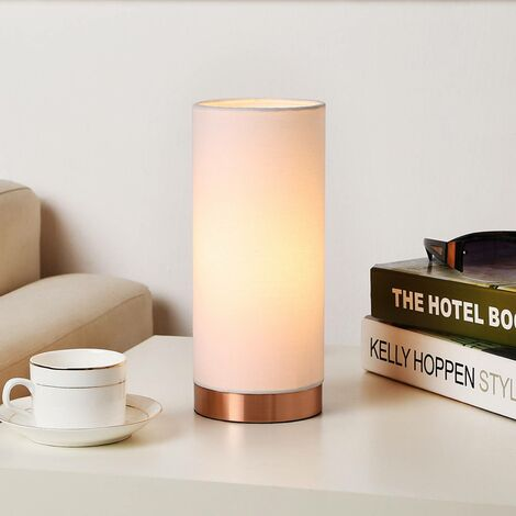 White table lamp Ronja with a copper-coloured base