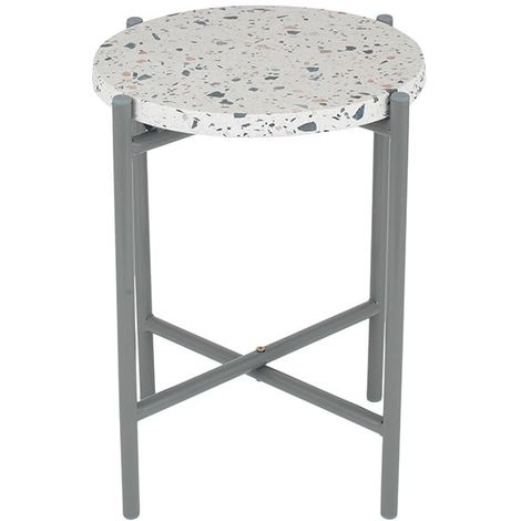 White Terrazzo & Matt Grey Metal Table Small