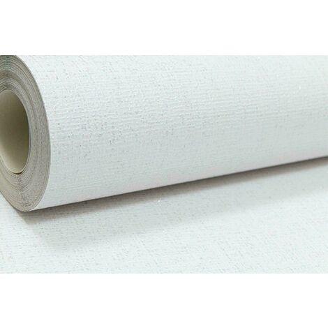 White Thick Textured Silver Glitter Vinyl Wallpaper Shimmer Linen Effect Plain