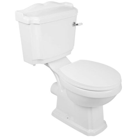 White Traditional Bathroom Closed Coupled Toilet Pan and Cistern Soft Close Seat