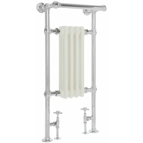 White Traditional Heated Towel Rail - 930mm x 450mm