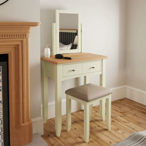 """main image of """"White Upholstered Dressing Table Desk Stool Wooden Tapered Legs Grey Cushion"""""""