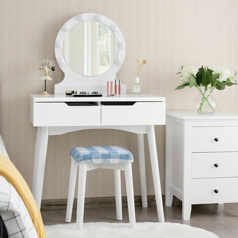 White Vanity Dressing Table Set Makeup Desk And Stool W/ LED Light & 2 Drawers