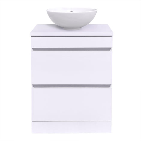 White Vanity Unit Countertop Basin Bathroom 2 Drawer Storage Furniture 600mm