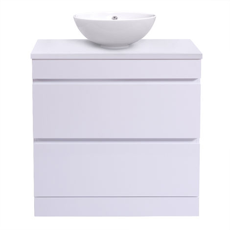 White Vanity Unit Countertop Basin Bathroom 2 Drawer Storage Furniture 800mm