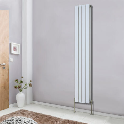White Vertical Column Designer Radiator Premium Bathroom Heater 1800x272 Flat Double Panel Central Heating