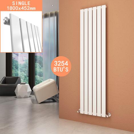 White Vertical Column Radiator 1800 x 452 mm Single Flat Panel Designer Bathroom Radiator