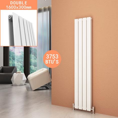White Vertical Column Radiator Double Flat Panel Designer Bathroom Radiators 1600 x 300 mm