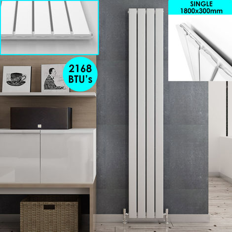 White Vertical Column Radiator Single Flat Panel Designer Bathroom Radiator 1800 x 300 mm