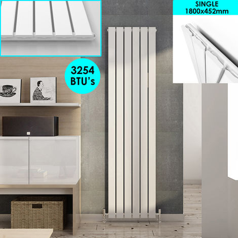 White Vertical Column Radiator Single Flat Panel Designer Bathroom Radiator 1800 x 452 mm