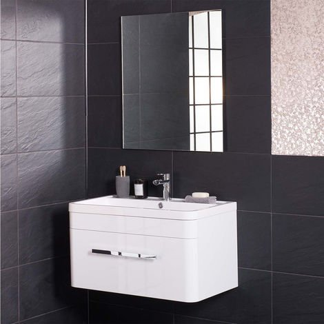 White Wall Hung Single Drawer Vanity Sink Unit 800mm with Free Mirror