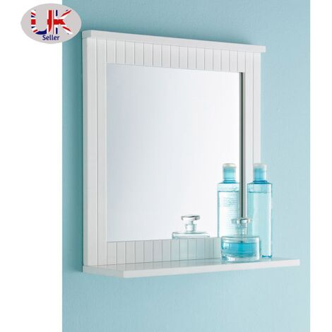 """main image of """"White Wall Mirror - Lines Design With Shelf - Bathroom Mirror"""""""
