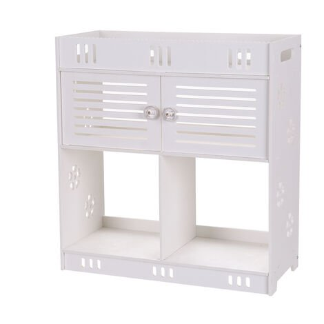 """main image of """"White Wall Mounted Cupboards, Double Doors Hanging Non-Perforated Bathroom Cabinet Storage Shelf Unit DIY (40 x 18 x 43cm)"""""""