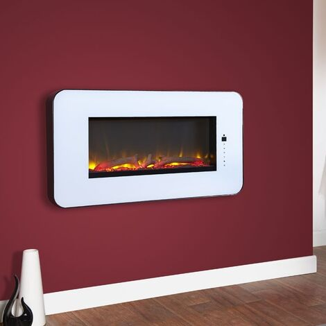White Wall Mounted Electric Fireplace Glass Heater Fire Remote Control LED Light