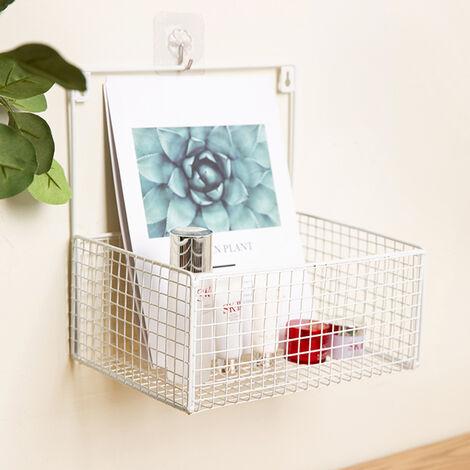 White Wall Mounted Shelf Metal Wire Hanging Rack Storage Basket Box Kitchen Bathroom