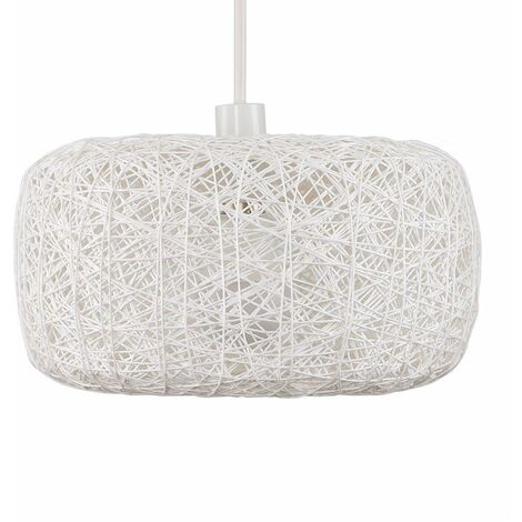 White Wicker Rattan Doughnut Ceiling Pendant Light Shade + 10w LED GLS Light Bulb - Warm White