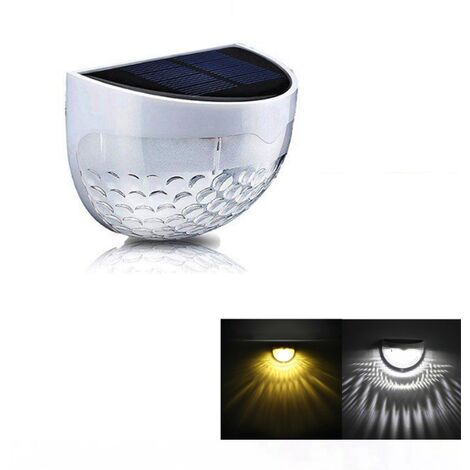 White with Warm White Light Waterproof LED Solar Wall Light