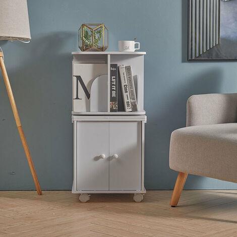 White Wood Corner Cabinet Cupboard Top Shelf Swivel Rack Bookshelf Plant Stand