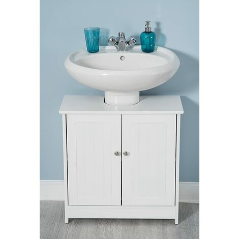 White Wood Under Sink Cabinet Cupboard Door Wooden Shelf ...