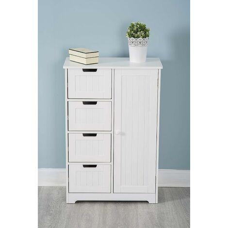White Wooden 4 Drawer 1 Door Cupboard Cabinet Free Standing Unit Storage Bathroom