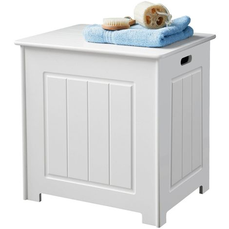White Wooden Basket Cabinet Cupboard Laundry Chest Storage Box