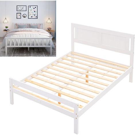 White Wooden Bed Frame Pine Wood Bedstead