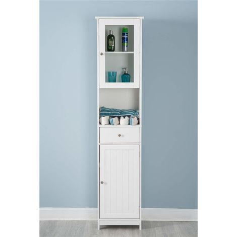 White Wooden Cabinet Tall Mirrored Cabinet Storage Unit Bathroom Furniture