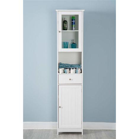 White Wooden Cabinet Tall Mirrored Cabinet Storage Unit Bathroom Furniture