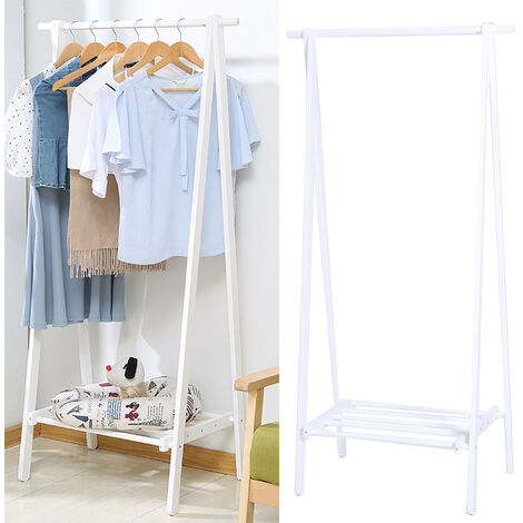 White Wooden Clothes Rail Stand Hanging Rack Storage Shelves