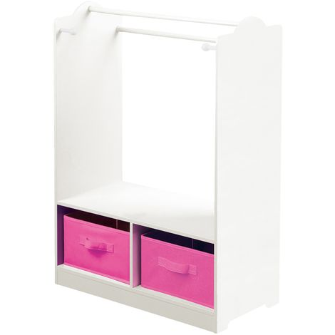 White Wooden Dress Up With Pink Storage Bins