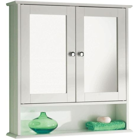 White Wooden Shelf Wall Mounted Cabinet Double Mirror Door Storage Unit Bathroom Furniture