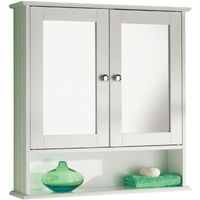 White Wooden Shelf Wall Mounted Cabinet Double Mirror Door Storage Unit Bathroom Furniture